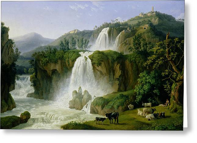 Rapid Paintings Greeting Cards - The Waterfall at Tivoli Greeting Card by Jacob Philippe Hackert