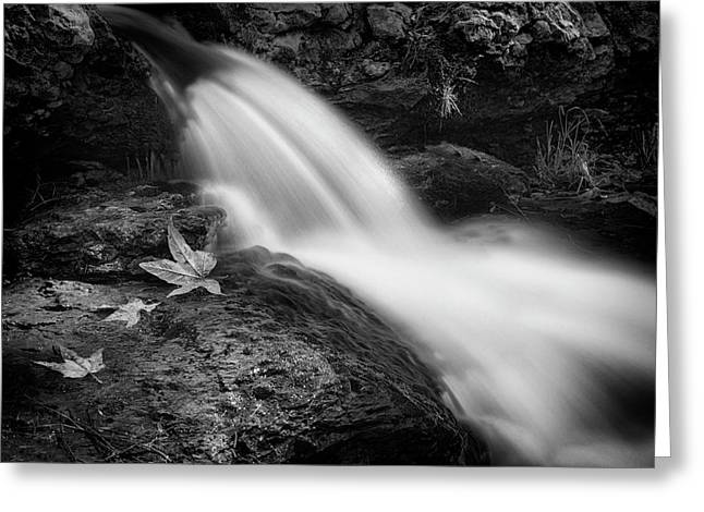 Greeting Card featuring the photograph The Waterfall In Black And White  by Saija Lehtonen