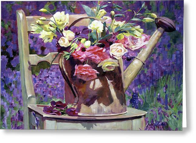 The Watering Can Bouquet Greeting Card by David Lloyd Glover