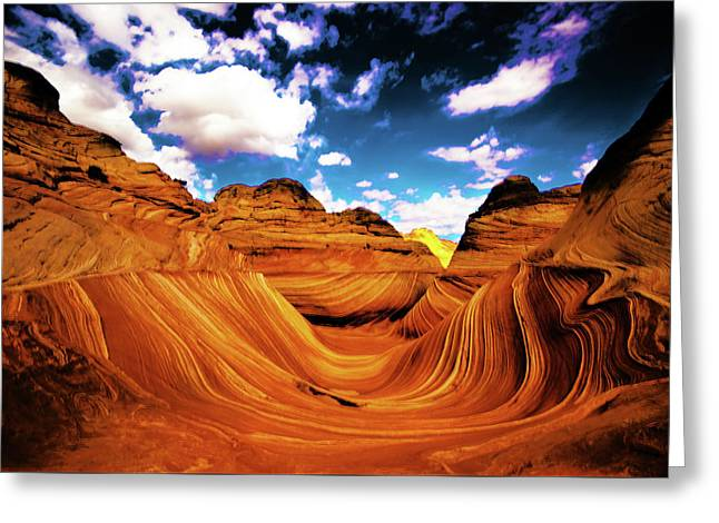 Greeting Card featuring the photograph The Wave Arizona Light by Norman Hall