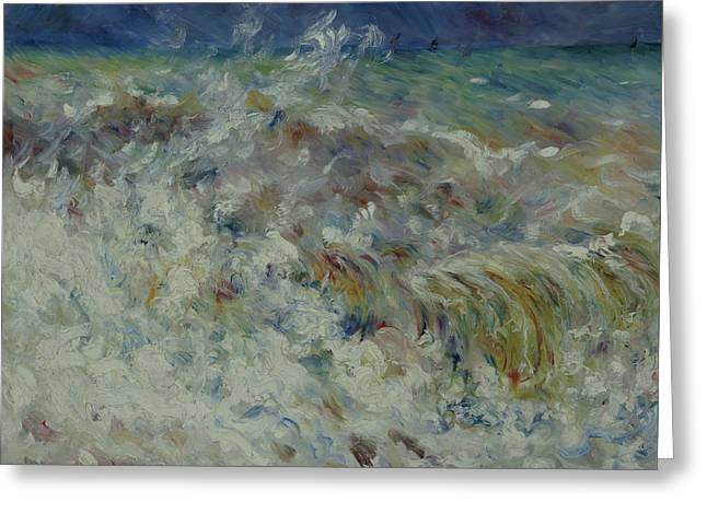 The Wave Greeting Card by Auguste Renoir
