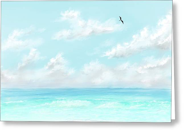 Greeting Card featuring the digital art The Waves And Bird by Darren Cannell