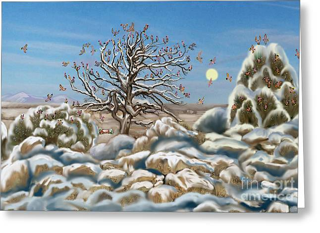 The Waxwing Tree Greeting Card by Dawn Senior-Trask
