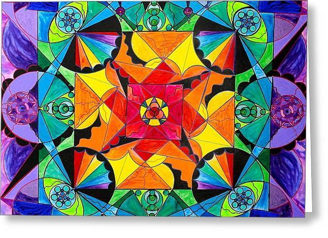 The Way - Arcturian Blue Ray Grid Greeting Card