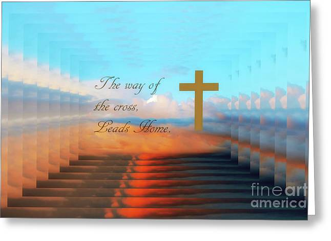 The Way Of The Cross Greeting Card by Geraldine DeBoer