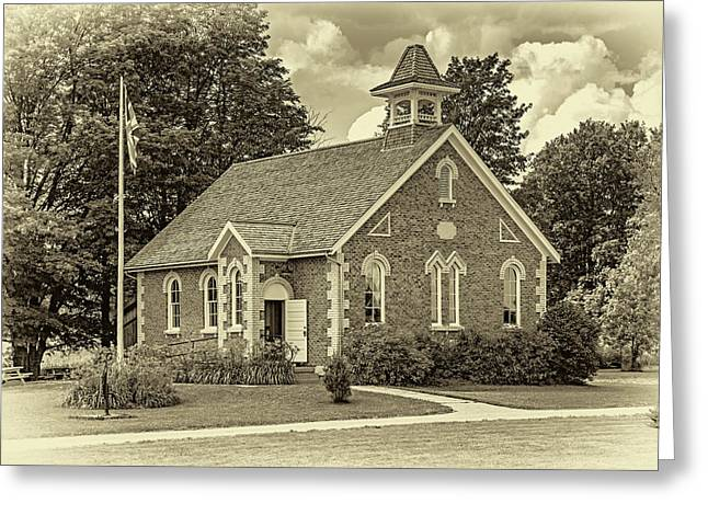 The Way We Were - One Room School House - Sepia Greeting Card