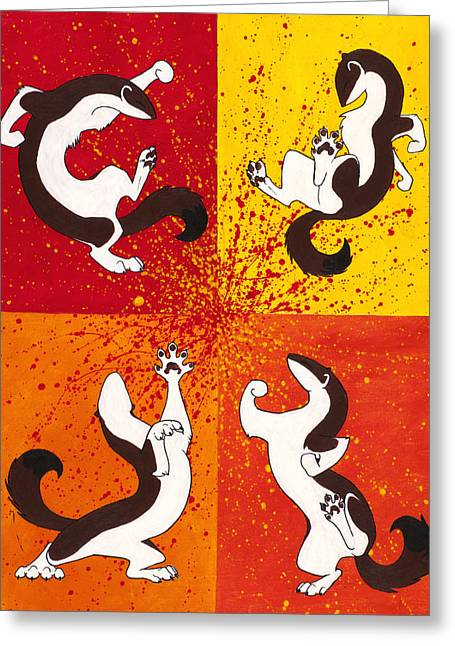 Ferret Greeting Cards - The Weasel Dance Greeting Card by Beth Davies