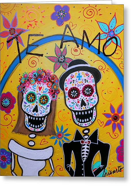 The Wedding Day Of The Dead Greeting Card by Pristine Cartera Turkus