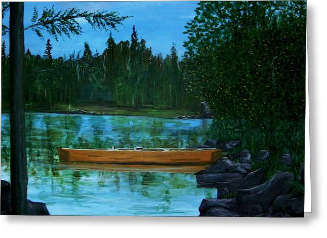 Canoe Drawings Greeting Cards - The wedding gift Greeting Card by Richard  Hubal