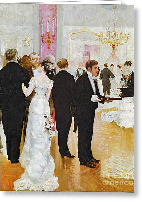 Chandelier Greeting Cards - The Wedding Reception Greeting Card by Jean Beraud