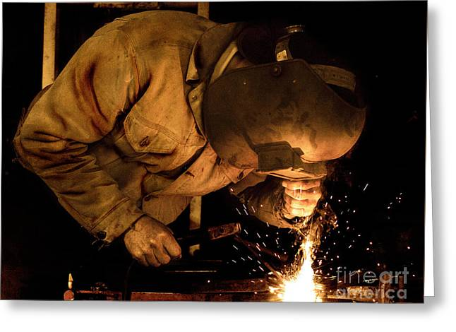 The Welder Greeting Card by Bob Christopher