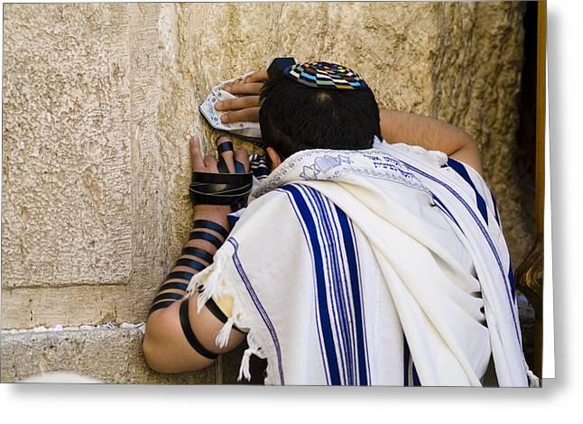 Prayer Shawl Greeting Cards - The Western Wall, Jewish Man Wearing Greeting Card by Richard Nowitz