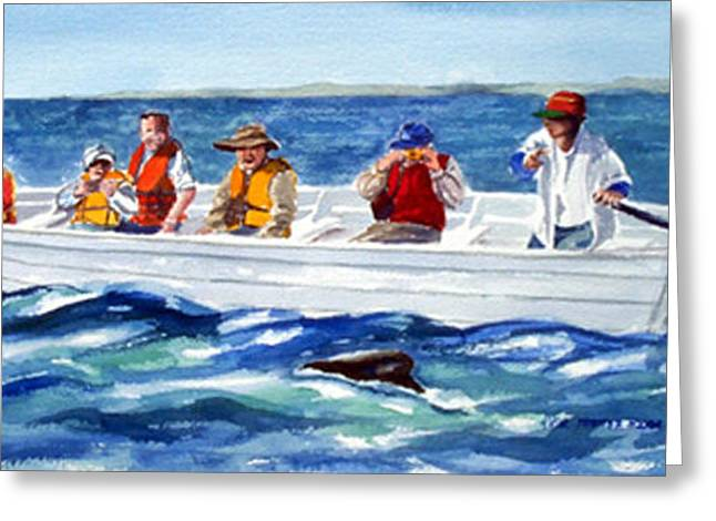 The Whale Watchers Greeting Card by Anne Trotter Hodge