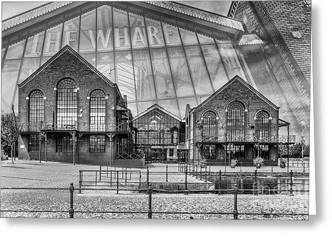 The Wharf Cardiff Bay Mono Greeting Card by Steve Purnell