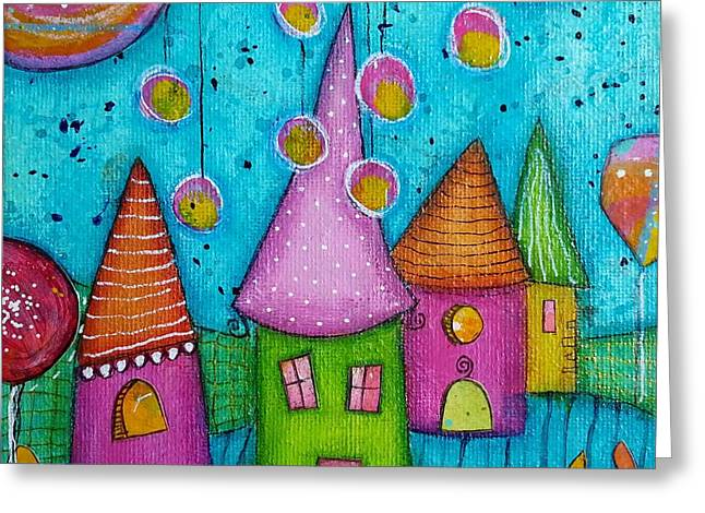 The Whimsical Village - 3 Greeting Card