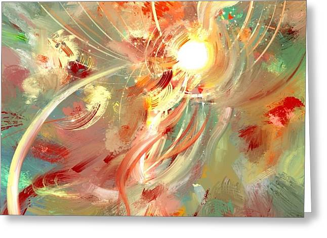 The Whirling Birth Light Greeting Card by Jeffrey Lohrius
