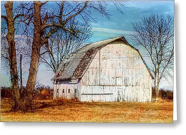 The White Barn Greeting Card by Karen McKenzie McAdoo