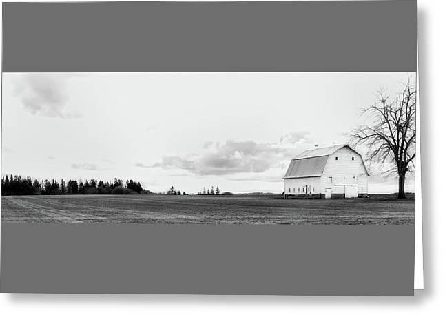 The White Barn Greeting Card by Rebecca Cozart