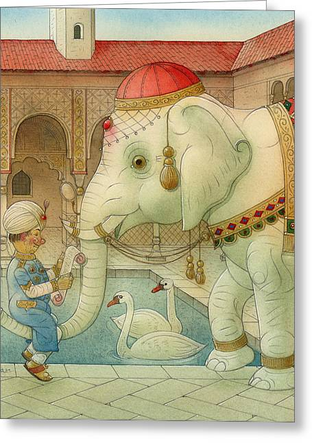 White Drawings Greeting Cards - The White Elephant 07 Greeting Card by Kestutis Kasparavicius