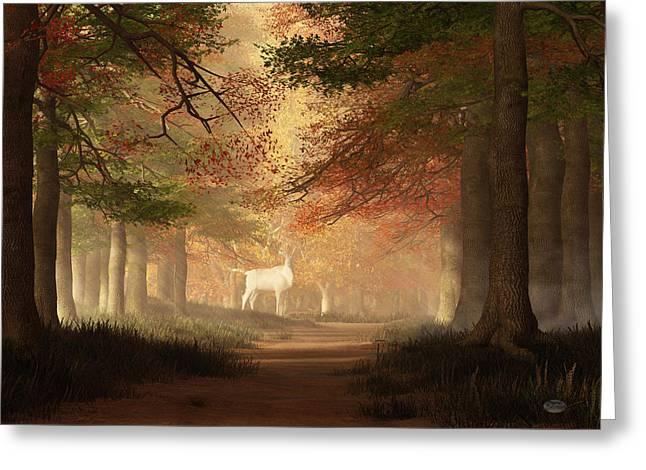Greeting Card featuring the digital art The White Elk by Daniel Eskridge