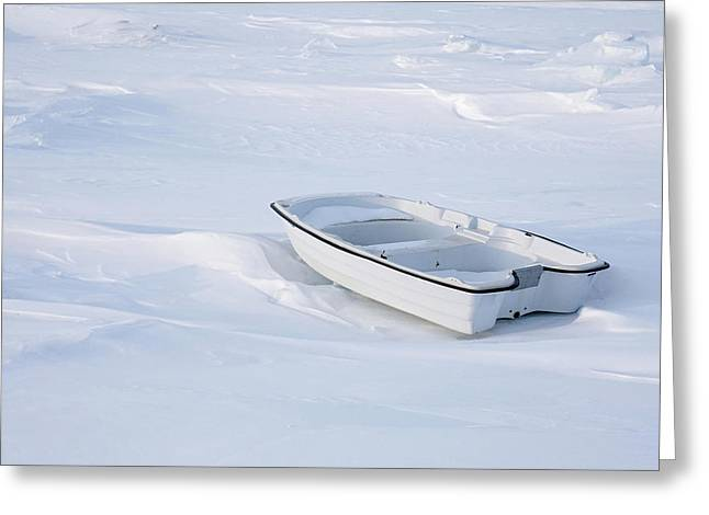 The White Fishing Boat Greeting Card