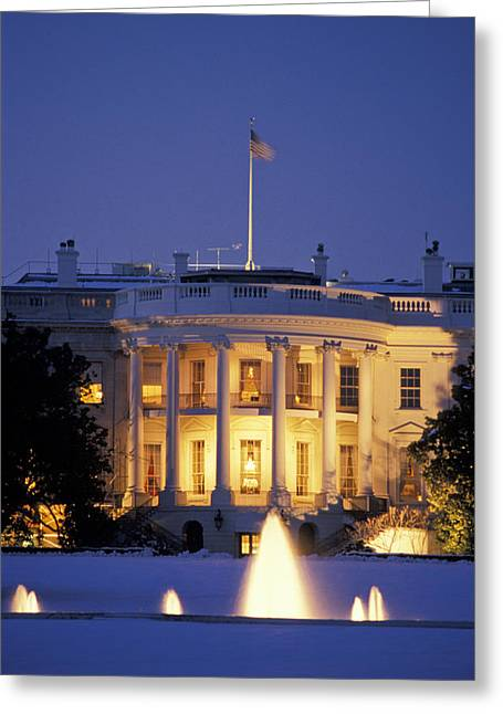The White House South Portico At Dusk Greeting Card by Richard Nowitz