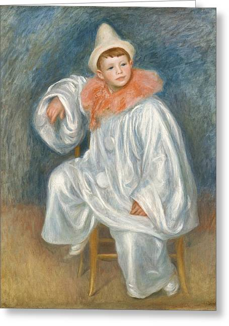 The White Pierrot Greeting Card by Pierre Auguste Renoir