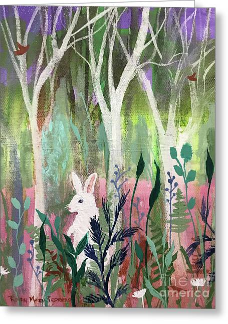 Greeting Card featuring the painting The White Rabbit by Robin Maria Pedrero