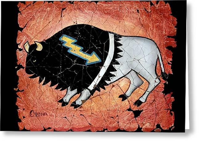 The White Sacred Buffalo Fresco Greeting Card