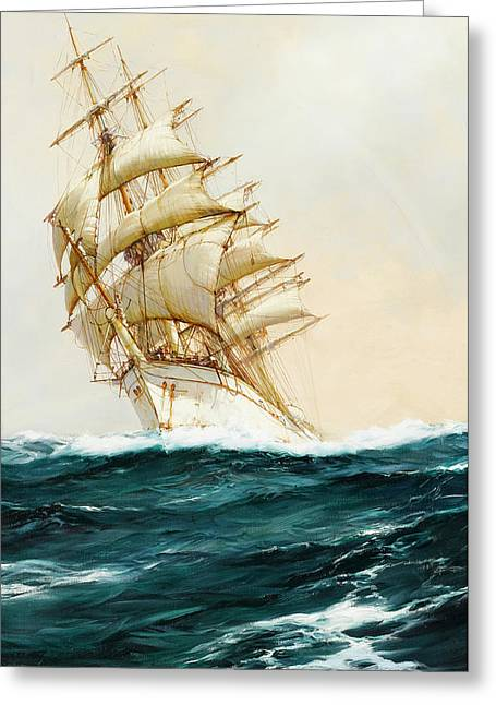 The White Ship Greeting Card by Montague Dawson