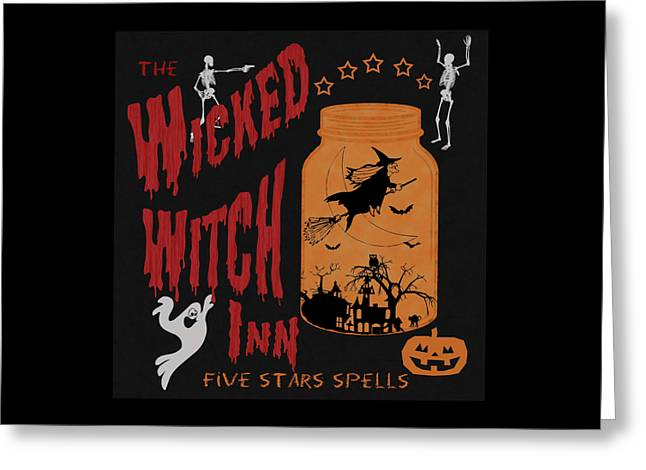 Greeting Card featuring the painting The Wicked Witch Inn by Georgeta Blanaru