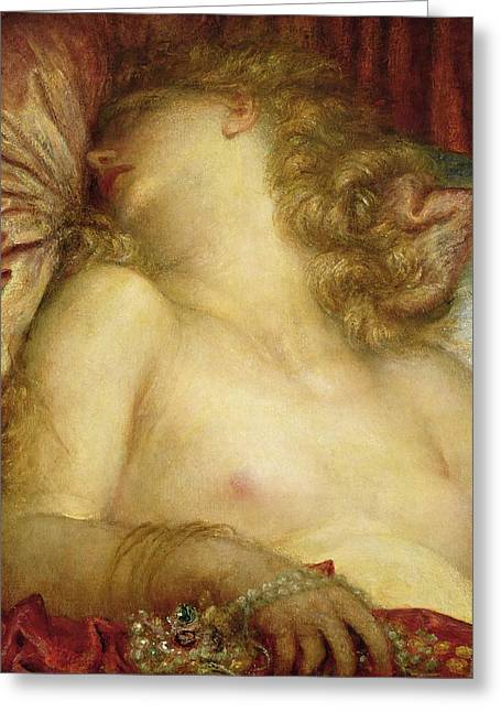 Blind Greeting Cards - The Wife of Plutus Greeting Card by George Frederic Watts