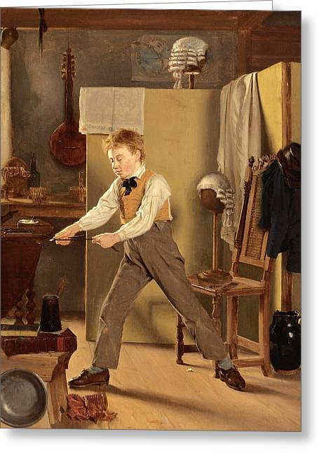 The Wigmaker's Apprentice. Practice Makes Perfect Greeting Card