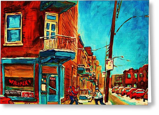 Montreal Winter Scenes Paintings Greeting Cards - The Wilensky Doorway Greeting Card by Carole Spandau