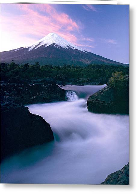 Volcanoes And Volcanic Action Greeting Cards - The Winding Rio Petrohue Beneath Osorno Greeting Card by George F. Mobley