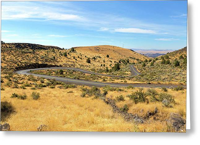The Winding Road In Central Oregon Greeting Card