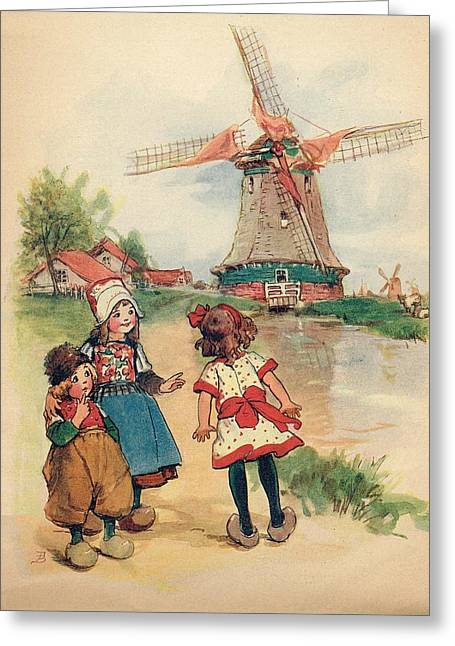 The Windmill And The Little Wooden Shoes Greeting Card