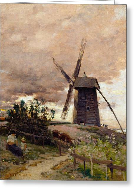 The Windmill Greeting Card by Jean-Charles Cazin