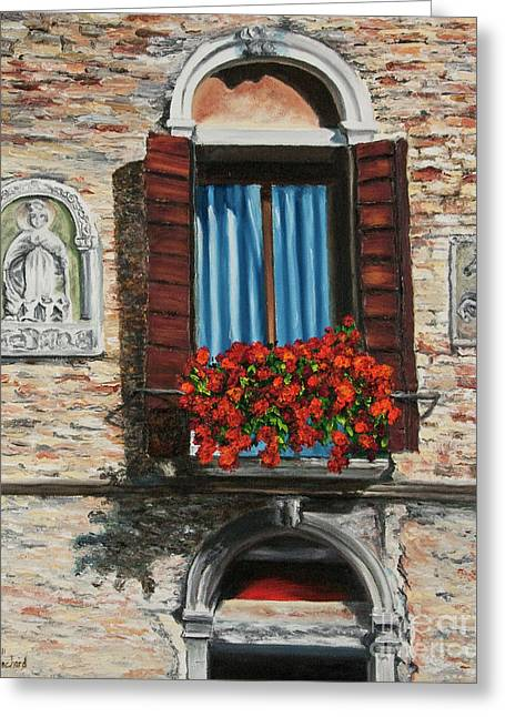 The Window Greeting Card by Charlotte Blanchard