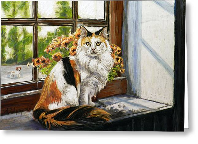 The Window Seat Greeting Card by Cat Culpepper