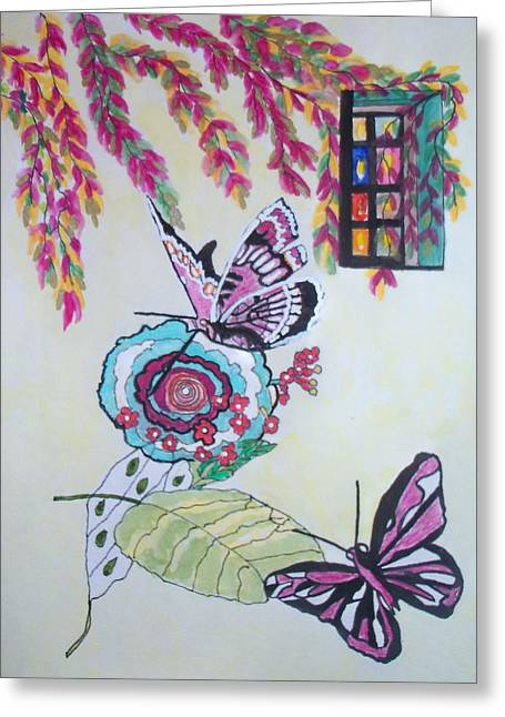 The Window To The Butterfly World Greeting Card by Connie Valasco