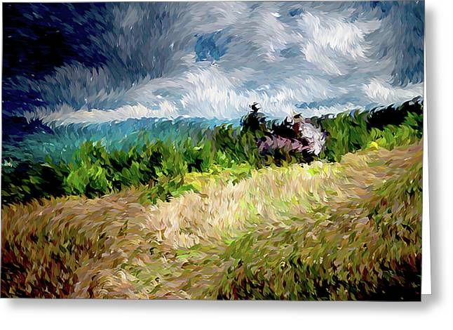 The Winds Come As Night Falls Impressionism Greeting Card by Georgiana Romanovna