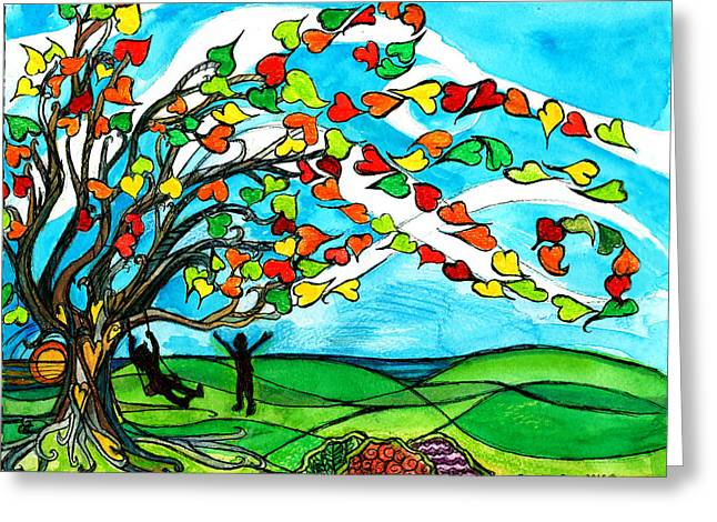 The Windy Tree Greeting Card by Genevieve Esson