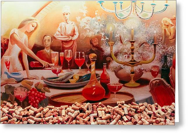 The Wine Cellar Mural Greeting Card by Colleen Kammerer