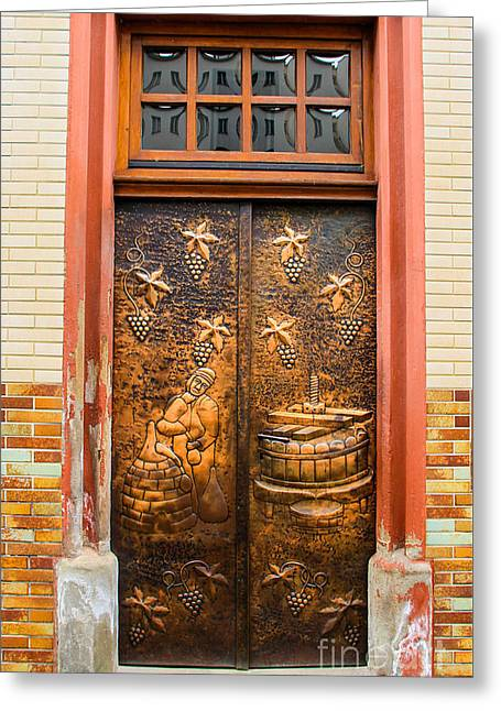 The Wine Doors Greeting Card by Amy Sorvillo