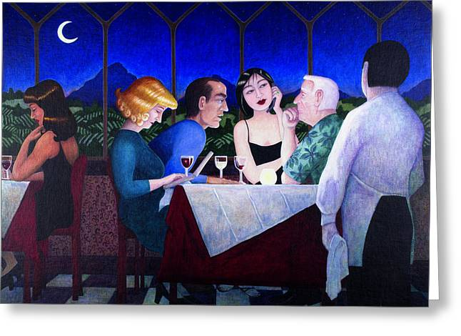 The Wine Drinkers Greeting Card by Melinda Gay