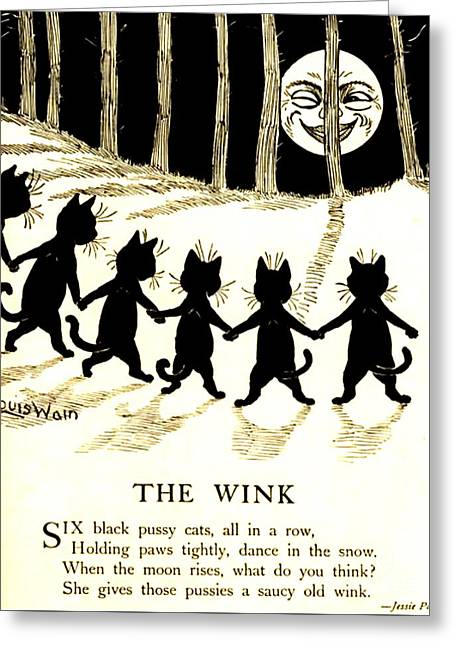 The Wink Six Black Pussy Cats Greeting Card