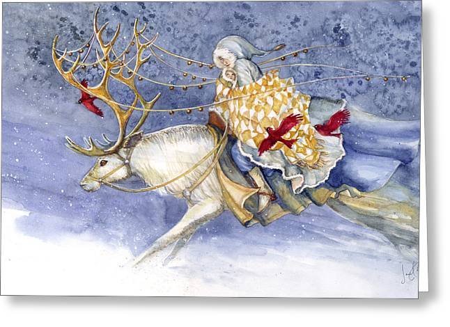 The Winter Changeling Greeting Card by Janet Chui