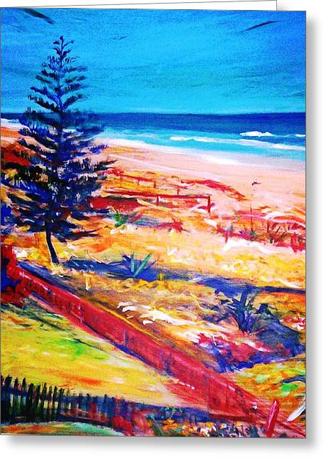 Greeting Card featuring the painting The Winter Dunes by Winsome Gunning