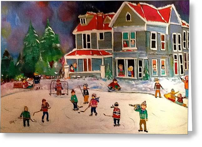 The Winter  Hockey Game Greeting Card by Michael Litvack